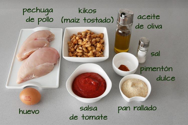 Ingredientes para hacer fingers de pollo con kikos