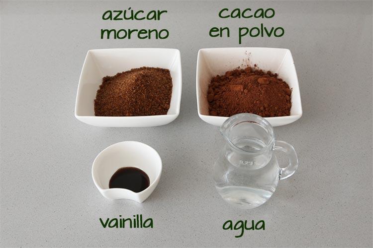 Ingredientes para hacer sirope de chocolate