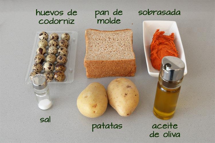 Ingredientes para hacer las tapas de sobrasada, huevo y patatas paja