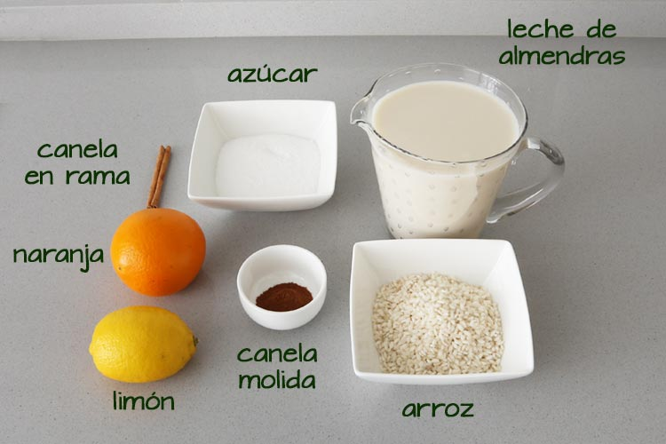 Ingredientes para hacer arroz con leche de almendras