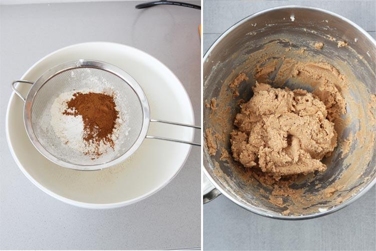Tamizar los ingredientes secos y añadirlos a la masa de galletas de canela