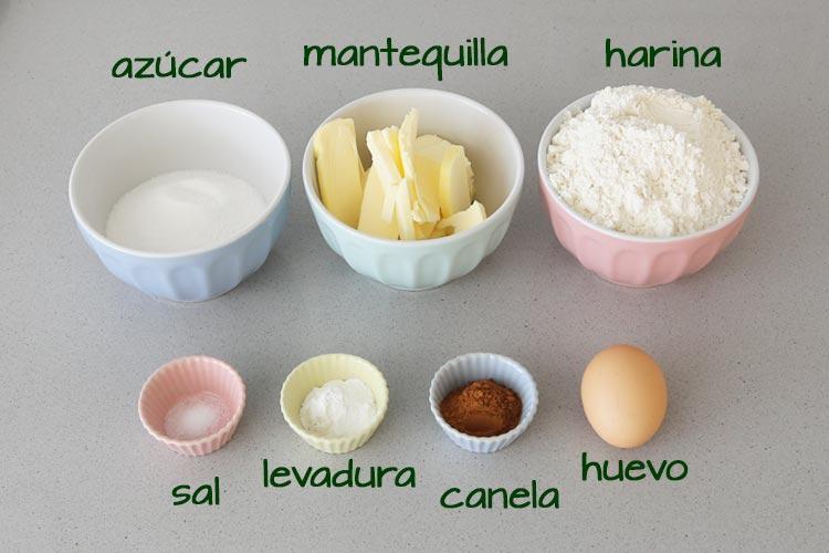 Ingredientes para hacer galletas de canela