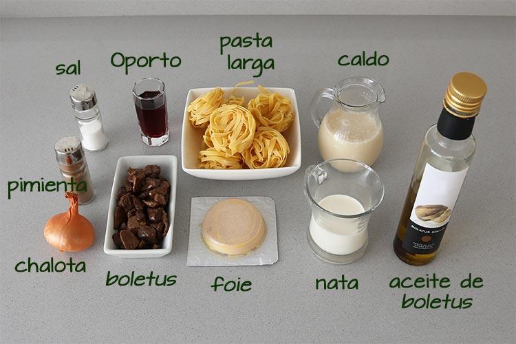Ingredientes para hacer pasta con salsa de boletus y foie