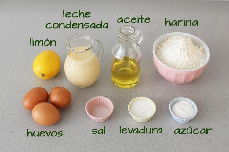 Ingredientes para hacer magdalenas de leche condensada