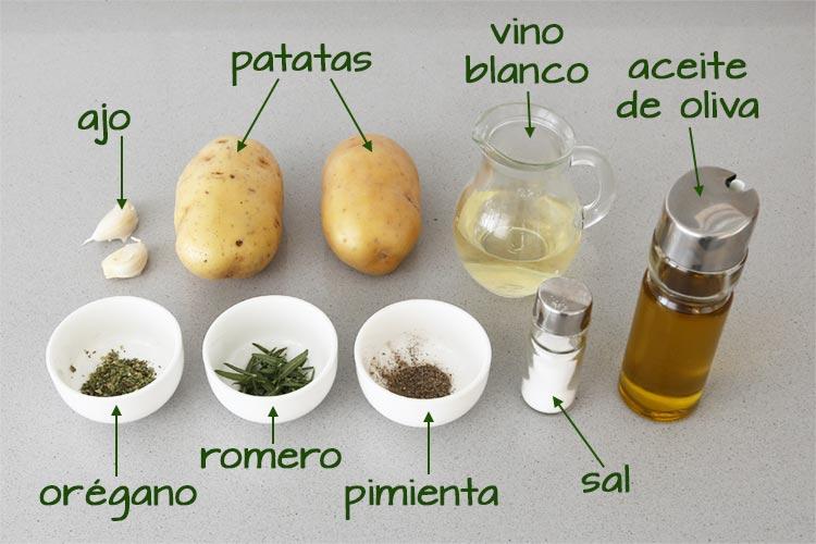 Ingredientes para hacer patatas asadas al horno para servir como guarnición