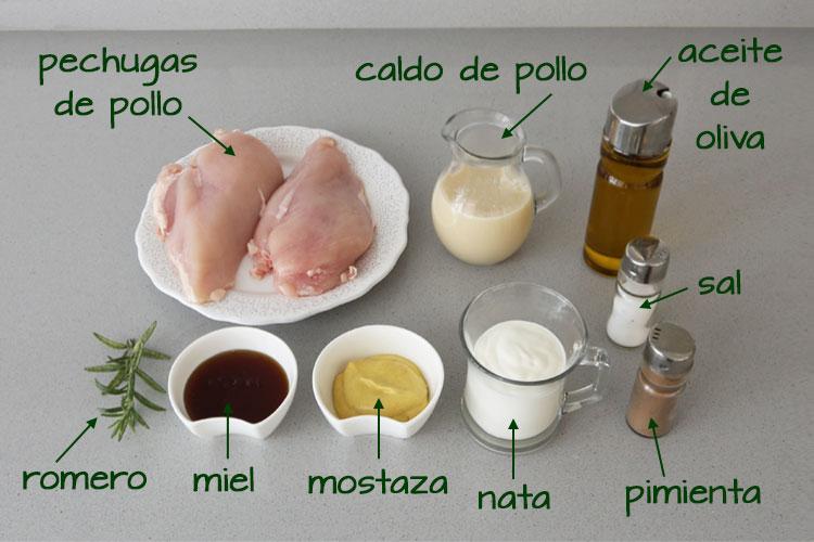 Ingredientes para hacer pechugas de pollo al horno con salsa de miel y mostaza
