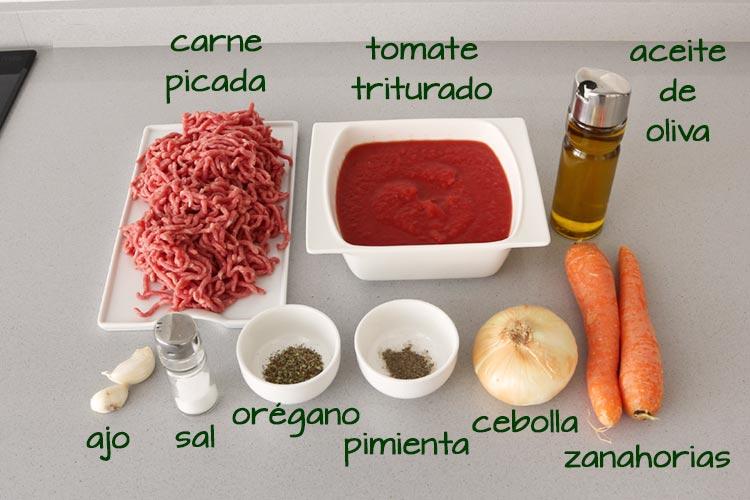 Ingredientes para hacer salsa boloñesa con Thermomix