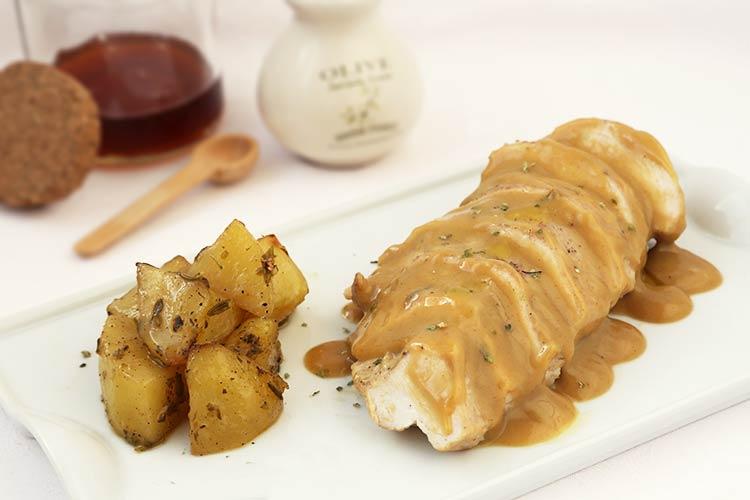 Pechugas con salsa de miel y mostaza