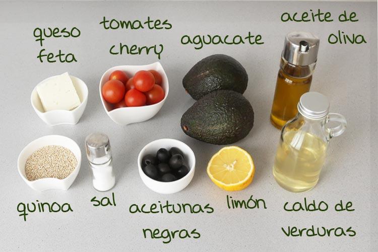 Ingredientes para hacer aguacates rellenos de quinoa