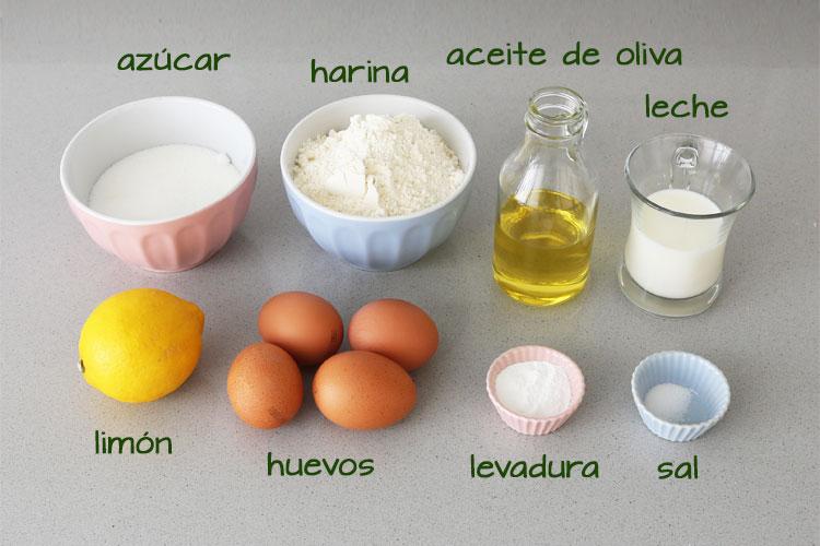 Ingredientes para hacer bizcocho de limón glaseado