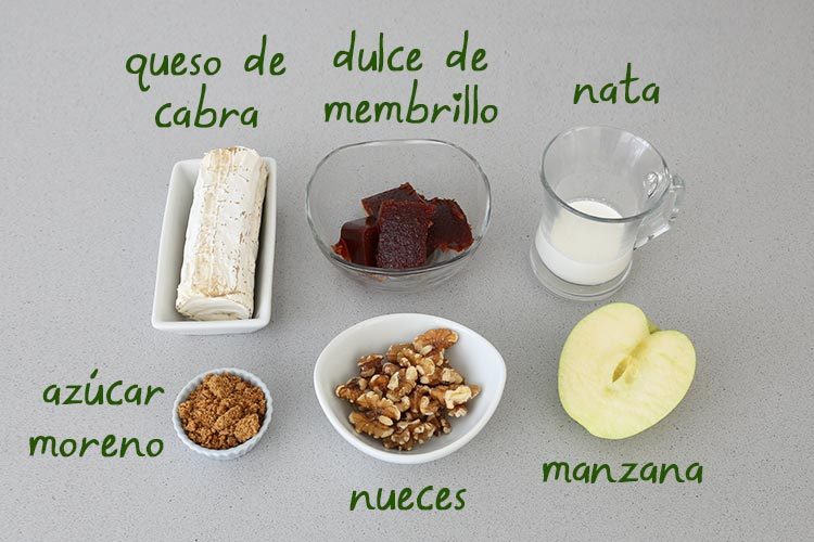 Ingredientes de crema de queso de cabra con membrillo y nueces