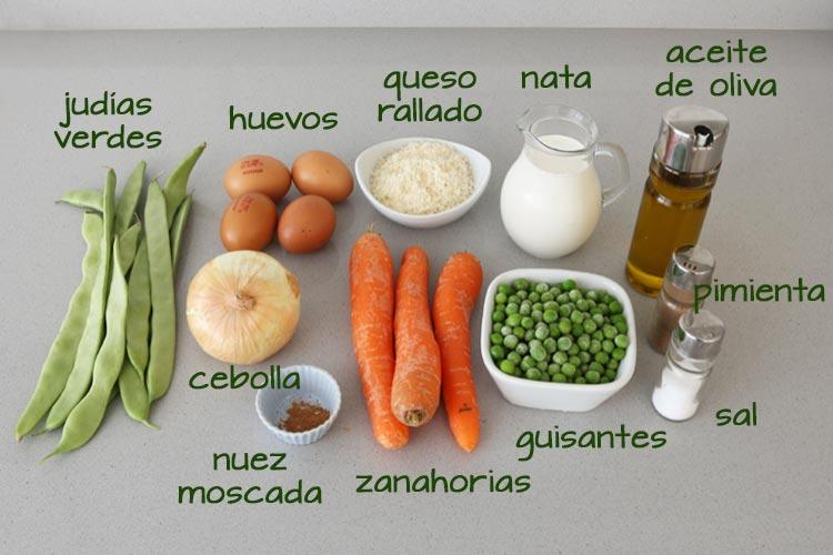 Ingredientes pastel de verduras fácil