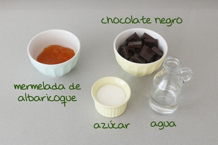 Ingredientes para rellenar y glasear la tarta Sacher