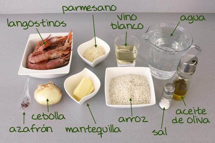 Ingredientes del risotto de langostinos