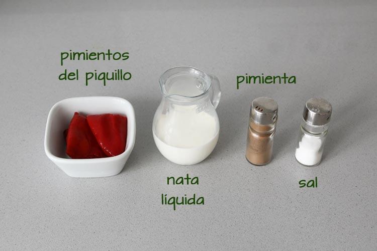 Ingredientes para hacer salsa de pimientos del piquillo