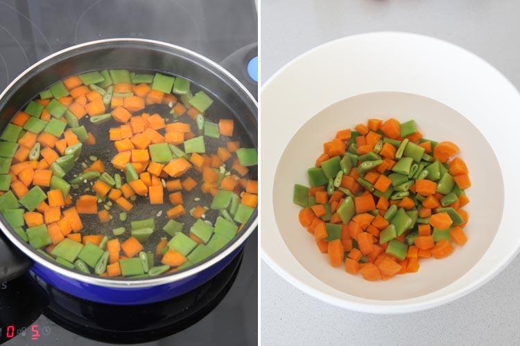 Zanahoria y judías verdes cocidas para el pastel de verduras fácil