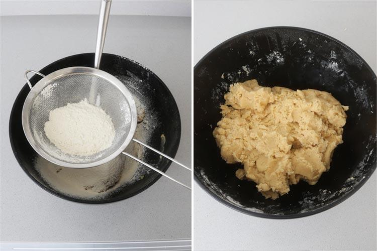 Agregar la ralladura, el harina y amasar