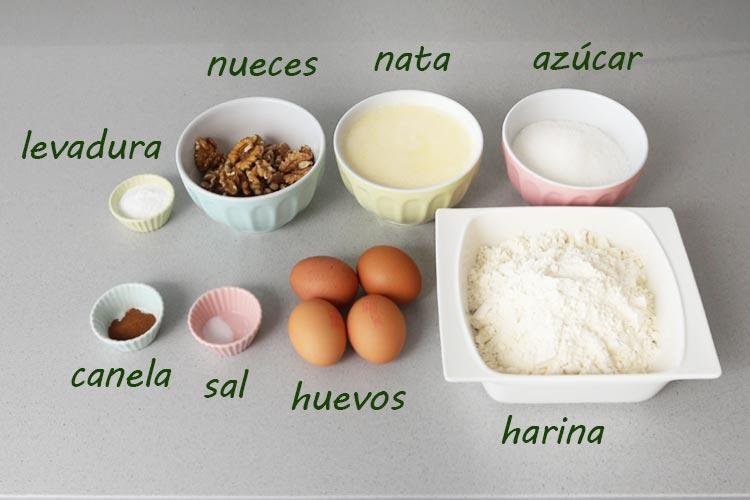 Ingredientes para hacer bizcocho de nata y nueces