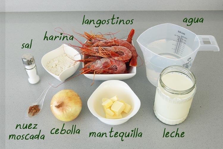 Ingredientes para hacer croquetas de marisco