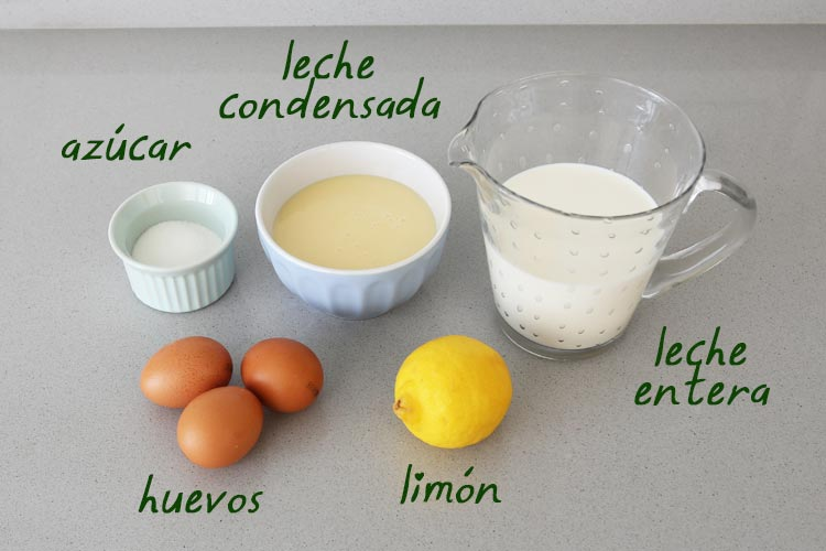 Ingredientes de flan de leche condensada y limón