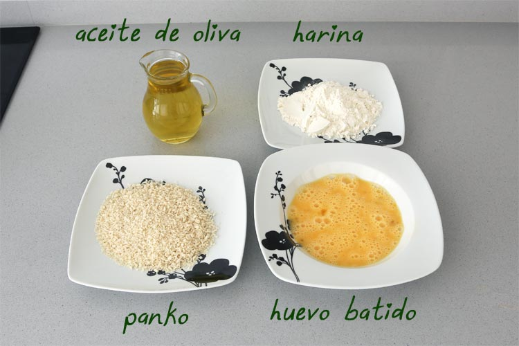 Ingredientes para freír las croquetas de marisco