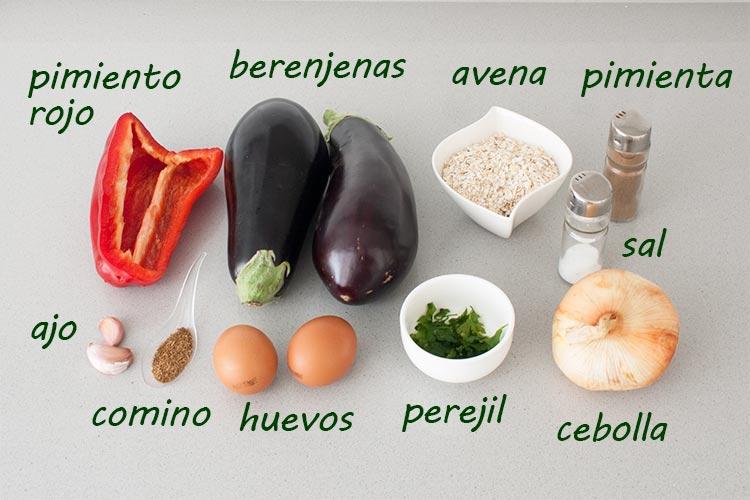 Ingredientes para hacer hamburguesas de berenjena