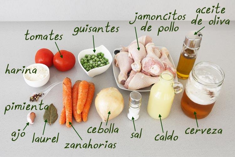 Ingredientes para hacer jamoncitos de pollo a la cerveza