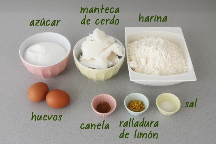 Ingredientes de perrunillas extremeñas