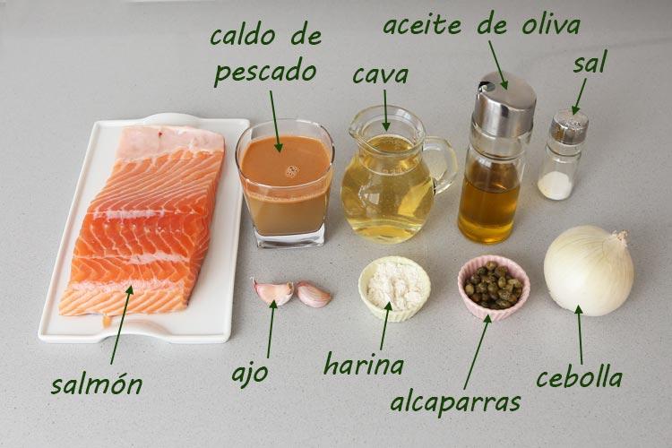 Ingredientes para hacer salmón al cava
