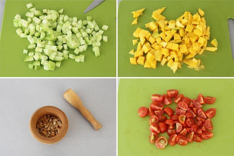Trocear y picar los ingredientes de la ensalada