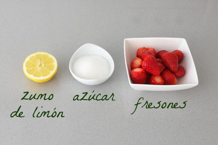 Ingredientes para hacer coulis de fresa