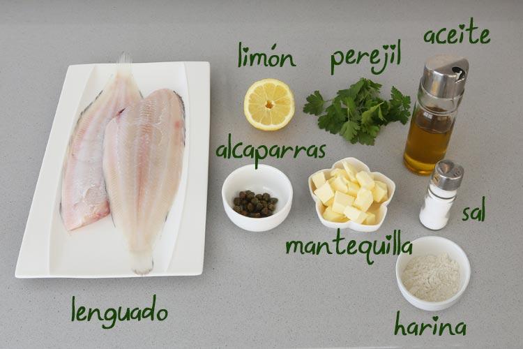 Ingredientes para hacer lenguado a la meunière