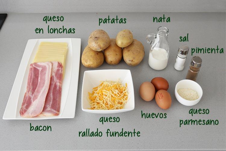 Ingredientes para hacer pastel de patata con bacon y queso