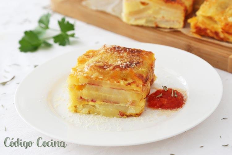 Pastel de patata con beicon y queso