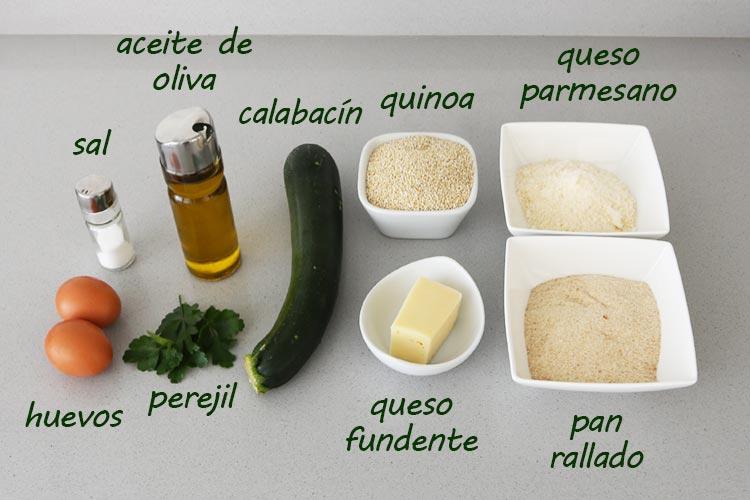 Ingredientes para hacer croquetas de quinoa y calabacín