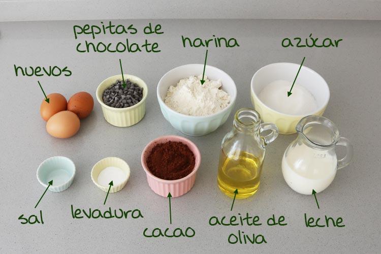 Ingredientes para hacer magdalenas de chocolate