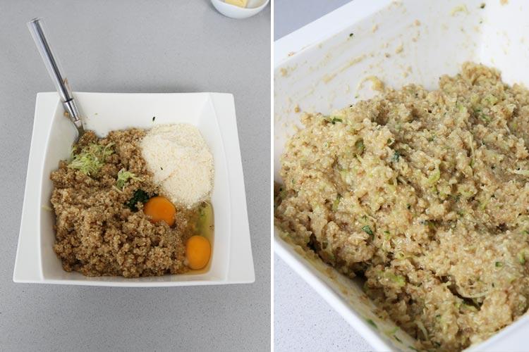 Mezclar los ingredientes para hacer la masa de las croquetas de quinoa