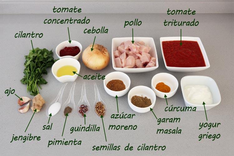 Ingredientes para hacer pollo tikka masala