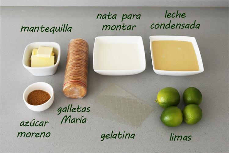 Ingredientes para hacer tarta de lima
