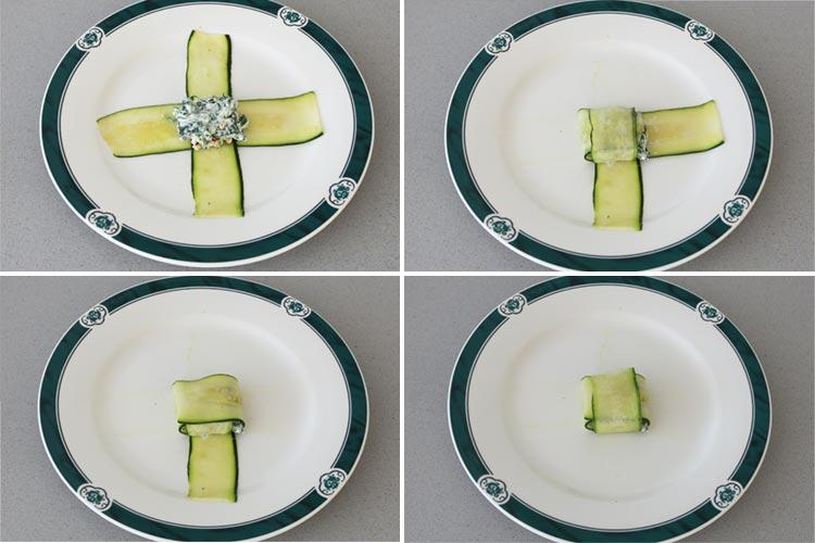Coloca el relleno en el centro y dobla las tiras de calabacín hasta formar un paquetito