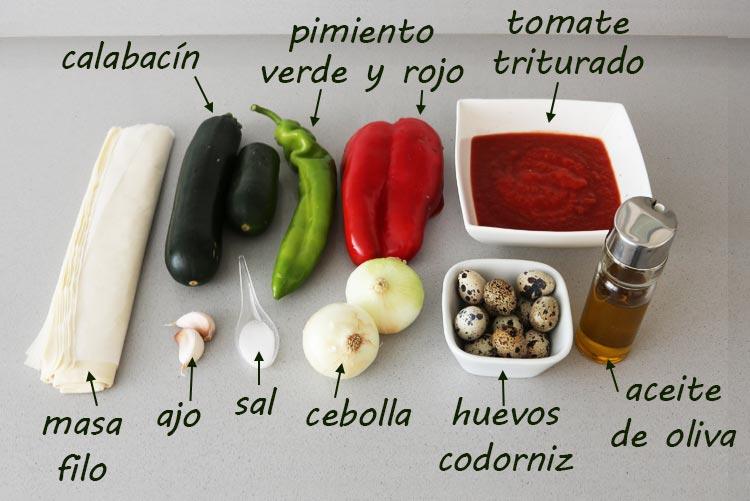 Ingredientes para hacer cestitas de pisto con huevo de codorniz