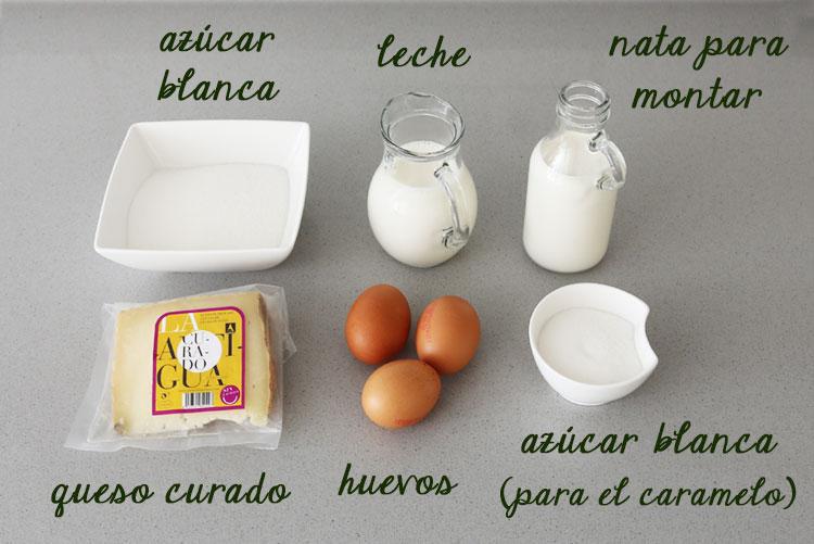 Ingredientes flan de queso curado