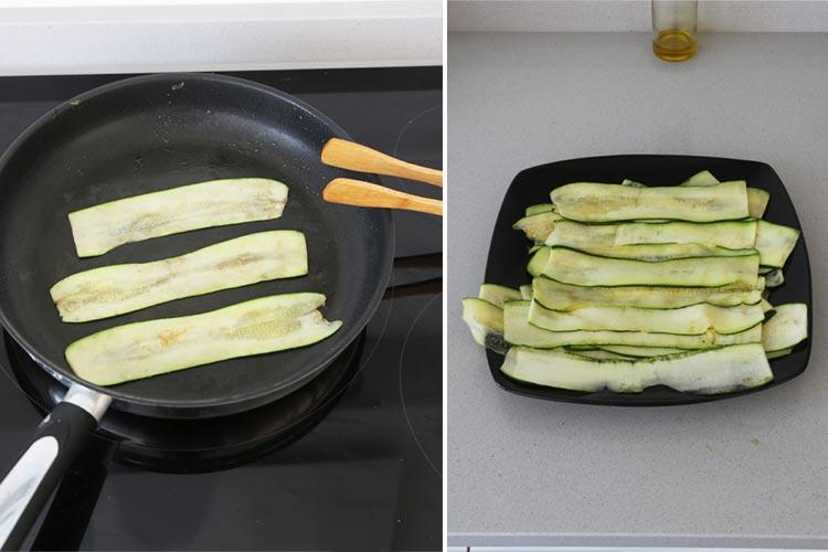 Cocina ligeramente las tiras de calabacín