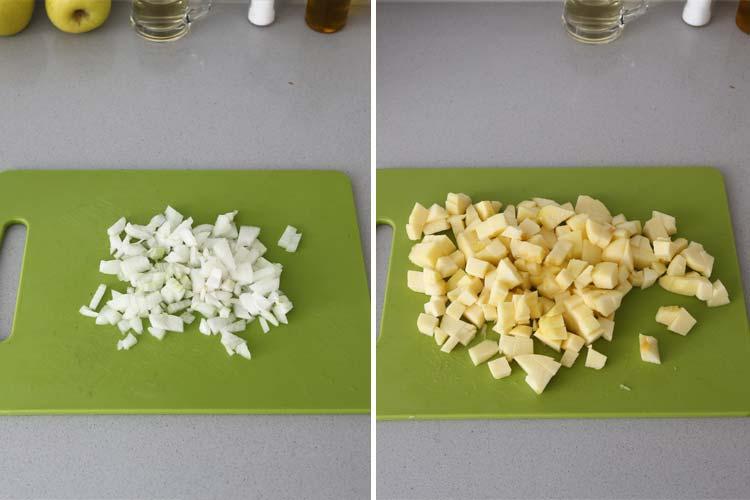 Cortar la manzana y la cebolla