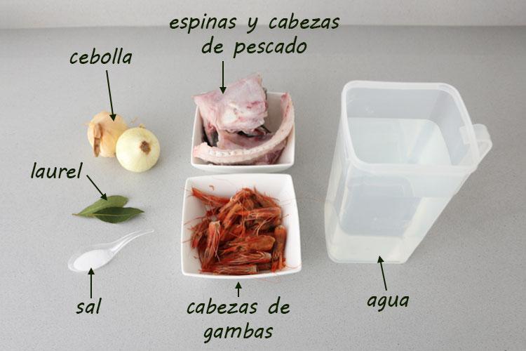 Ingredientes para hacer caldo para sopa de pescado