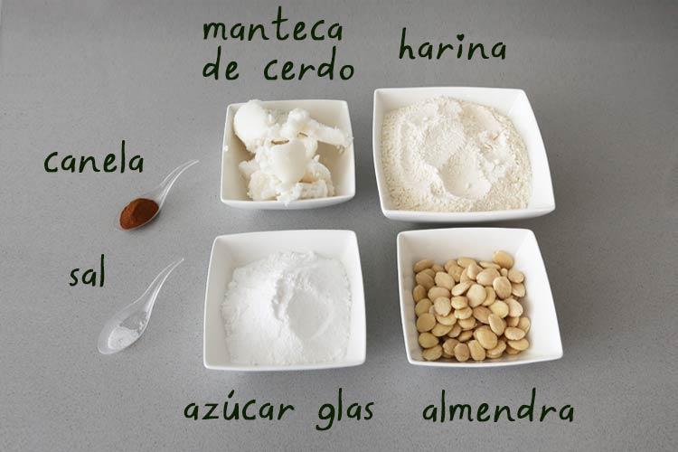 Ingredientes para hacer polvorones caseros