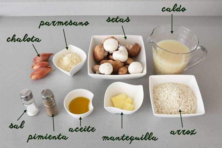 Ingredientes para hacer risotto de setas