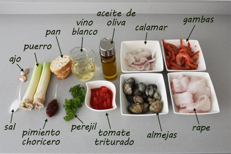 Ingredientes para hacer sopa de pescado