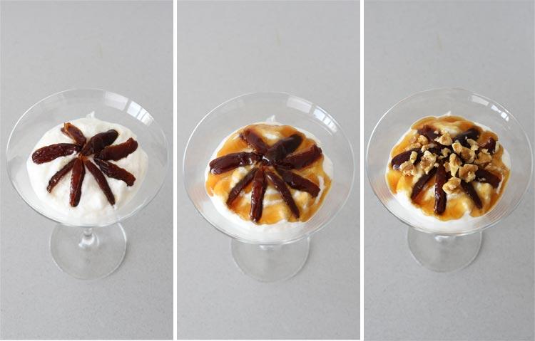 Decorar las copas con los dátiles, la miel y las nueces