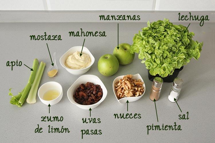 Ingredientes para hacer ensalada Waldorf